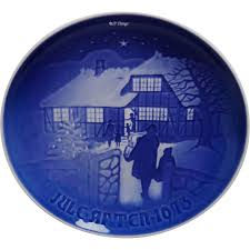 grondahl 1973 blue and white plate 9073 country