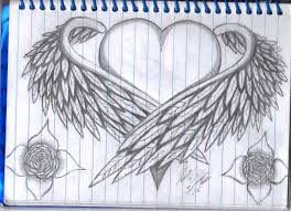 pencil drawings of hearts with wings and banners collection 85