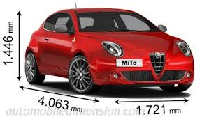 dimensions of alfa romeo cars showing length width and height