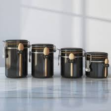 black canisters for kitchen black kitchen canisters jars you ll love wayfair