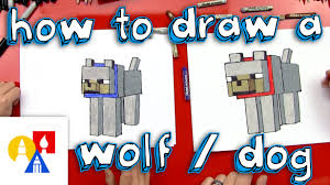 how to draw a minecraft wolf dog youtube