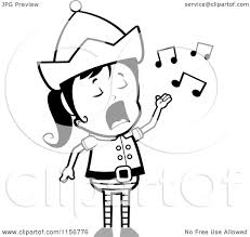 cartoon clipart of a black and white female christmas elf singing