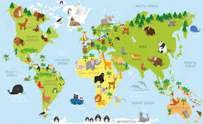 Continent Of Asia Map by Funny Cartoon World Map With Traditional Animals Of All The