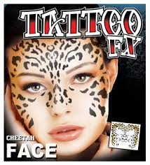 cheetah full face temporary tattoo halloween mask and costumes