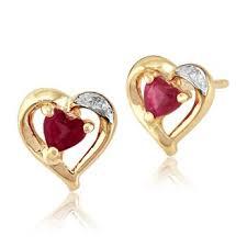 ruby stud earrings 9ct yellow gold 0 25ct ruby diamond heart stud earrings