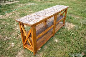 rustic x console table ana white reclaimed stenciled rustic x console diy projects