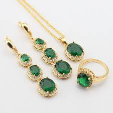 green stone necklace pendant images Wpaitkys women gold color jewelry sets green stones white cz long jpg