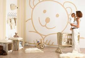welcome your baby with these baby room ideas midcityeast bear themed bedroom with huge wall mural and dolls collaborated with wooden furniture