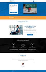 design online education ecourse responsive education landing page design template for online