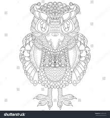vector pattern totem animal owl coloring stock vector 367951652