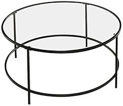 contemporary round coffee table amazon com sauder soft modern round coffee table black clear glass