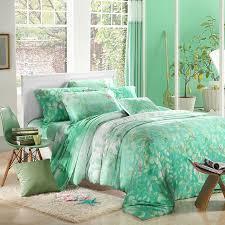 mint green leaf print bedding sets luxury queen king size silk quilt duvet cover designer sheet