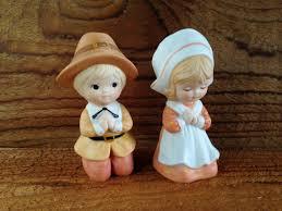 thanksgiving pilgrim statues lefton thanksgiving figurines vintage praying pilgrim statues