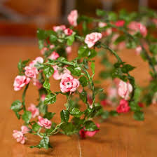 mini pink roses roping garland garlands floral supplies