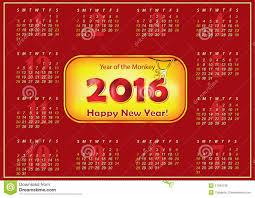 printable calendar 2016 chinese new year of the monkey stock