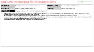 painting supervisor resume sample