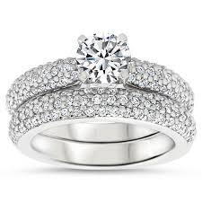 wedding set rings diamond pave wedding set engagement ring and wedding band pip