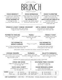 menu for brunch mominette bistro oyster bar in bushwick mominette