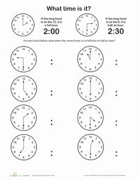 telling time half hour telling time on the hour or half hour worksheet education