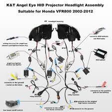 kt headlight for honda vfr800 2002 2012 led angel eye motorcycle