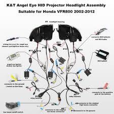 Kt Headlight For Honda Vfr800 2002 2012 Led Angel Eye Motorcycle
