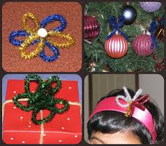glitter pipe cleaners gift bows ornament gift toppers craft