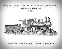 new york west shore buffalo railroad 1884 steam locomotive print
