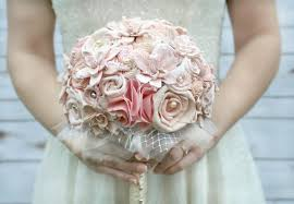 wood flowers original blush ombre handmade heirloom s wedding bouquet