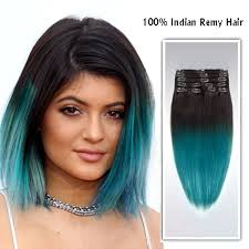 owigs clip ins 14 2 green blue indian remy clip in hair extensions