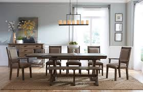 kincaid dining room furniture design center rustic weathered gray saw buck dining table with self storing