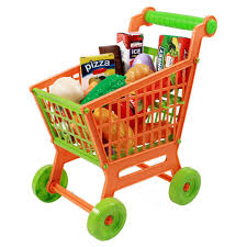 Toy Kitchen Set Food Kids Push Along Grocery Shopping Cart Pretend Play Toy