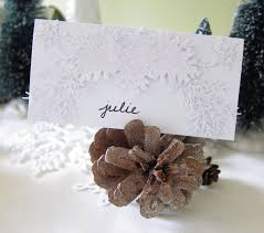pine cone place cards brown eyed