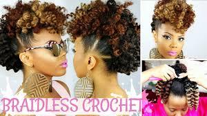 crochet hair mohawk pattern braidless crochet no cornrows curly crochet faux hawk tutorial