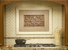 backsplash medallions kitchen encore ceramics this backsplash features the grace plaque in