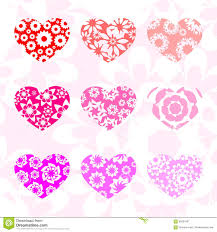 hearts in different shades of pink with patterns stock vector