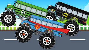 bus monster truck videos super heroes bus monster truks compilation kids video youtube
