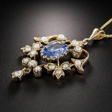 sapphire gem necklace images Vintage no heat ceylon sapphire and pearl pendant necklace jpg