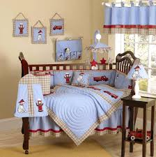 blue red fire truck baby crib bedding set 9pc nursery collection
