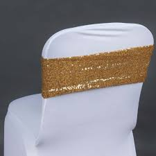 gold chair sashes 5pc x spandex sequined chair sash gold tablecloths factory