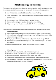kinetic energy calculation questions by pinkhelen teaching