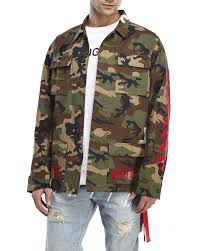 off white c o virgil abloh embroidered camouflage field jacket in