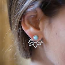 front back earrings hollow flower earrings geometric stud earrings for women front