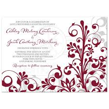 wedding invitations burgundy burgundy gray abstract floral wedding invitation