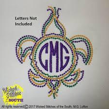 mardi gras embroidery designs mardi gras bead fleur de lis circle monogram frame embroidery