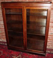 antique tiger oak double glass door bookcase exceptionally sweet