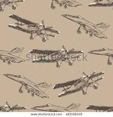 airplane sketch seamless pattern hand drawn stock vector 493150249