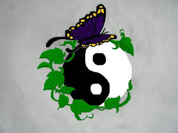 butterfly on ying yang design tattooshunt com