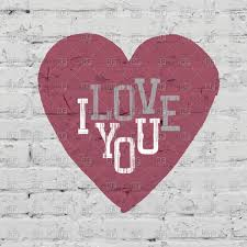 pink heart on grunge brick wall i love you vector clipart image