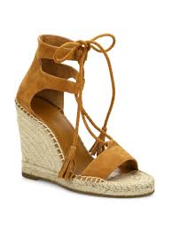 joie delilah lace up suede espadrille wedge sandals shoes
