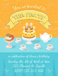 Tea Party Invitation Card Modern Flat Vector Tea Party Invitation Card With Tea Cups Teapot